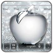 Shiny Apple Silver Glitter Keyboard Theme icon