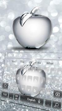Shiny Apple Silver Glitter Keyboard Theme poster