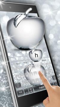 Shiny Apple Silver Glitter Keyboard Theme screenshot 1