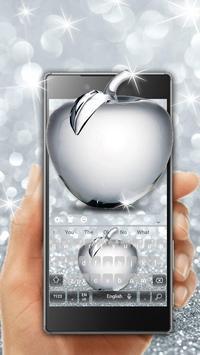 Shiny Apple Silver Glitter Keyboard Theme screenshot 2