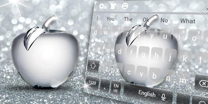 Shiny Apple Silver Glitter Keyboard Theme screenshot 4