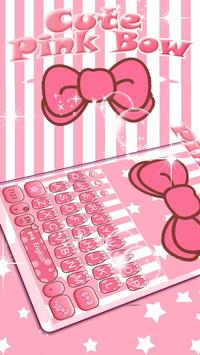 Cute Pink Bow Keyboard Theme poster