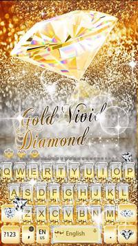 Gold Vivid Diamond Keyboard Theme poster