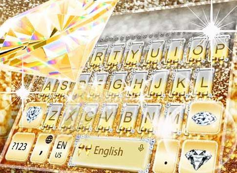 Gold Vivid Diamond Keyboard Theme screenshot 2