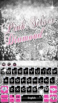 Pink Silver Diamond Keyboard Theme capture d'écran 3