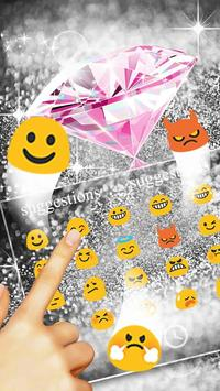 Pink Silver Diamond Keyboard Theme Affiche