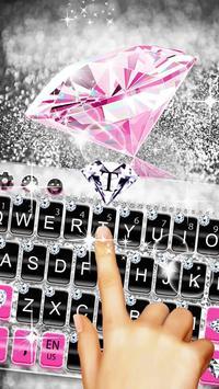 Pink Silver Diamond Keyboard Theme capture d'écran 1