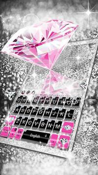 Pink Silver Diamond Keyboard Theme capture d'écran 2