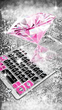 Pink Silver Diamond Keyboard Theme capture d'écran 4