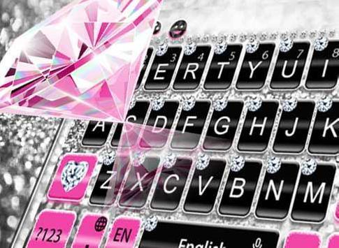 Pink Silver Diamond Keyboard Theme capture d'écran 5