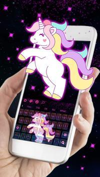 Galaxy Cute Unicorn Keyboard Theme screenshot 2