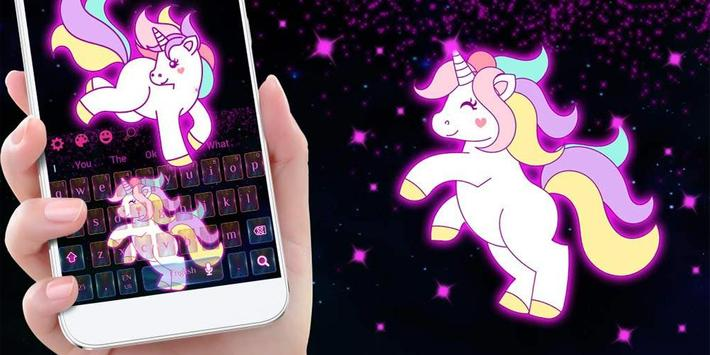 Galaxy Cute Unicorn Keyboard Theme screenshot 4
