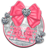 Pink Silvered Bow Keyboard Theme icon