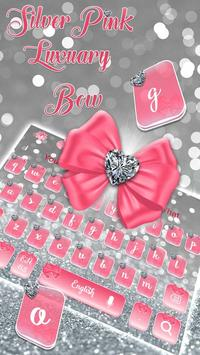 Pink Silvered Bow Keyboard Theme poster