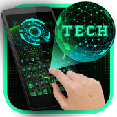 Green 3D Holographic Technology Earth Keyboard icon