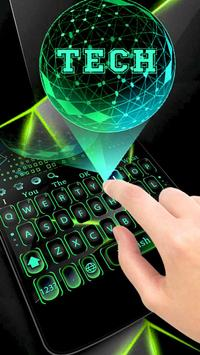 Green 3D Holographic Technology Earth Keyboard poster