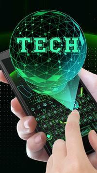 Green 3D Holographic Technology Earth Keyboard apk screenshot