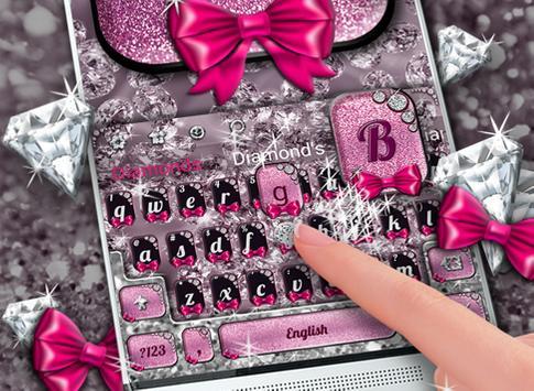 Bows & Diamonds Premium Keyboard Theme screenshot 3