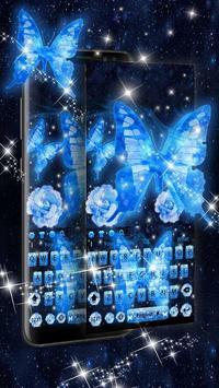 Dream butterfly blue glow&starry sky neon keyboard poster