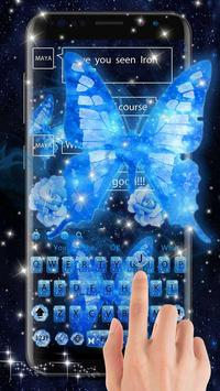 Dream butterfly blue glow&starry sky neon keyboard screenshot 5