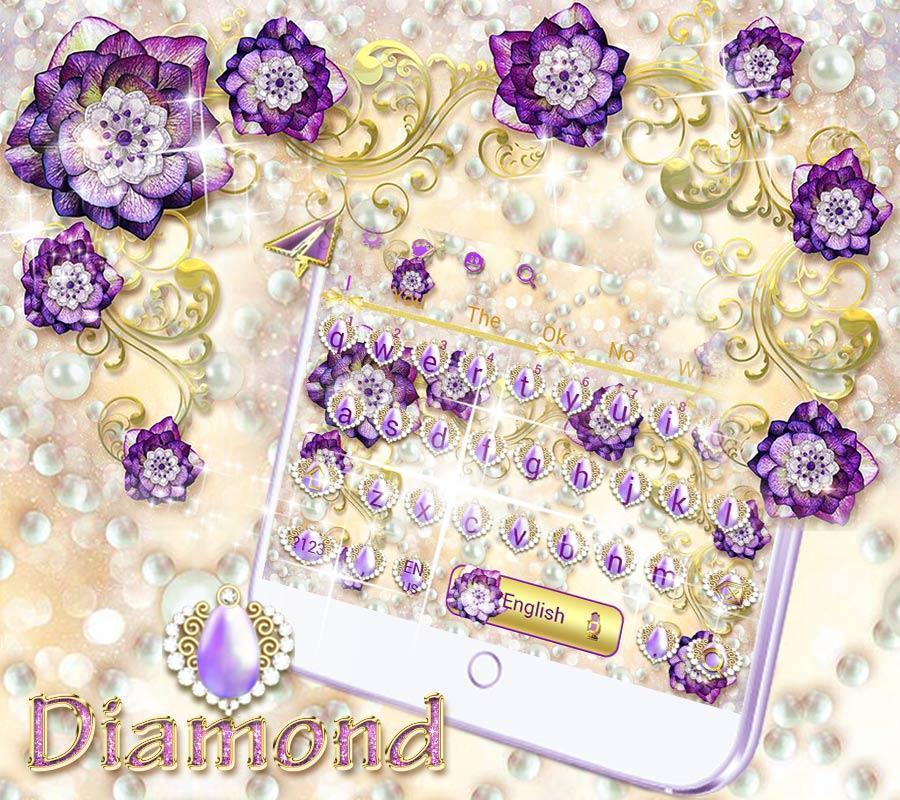 Samsung android aplikasi Purple Flower Keyboard Theme