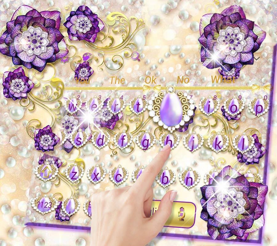 Tema untuk hp Purple Flower Keyboard Theme