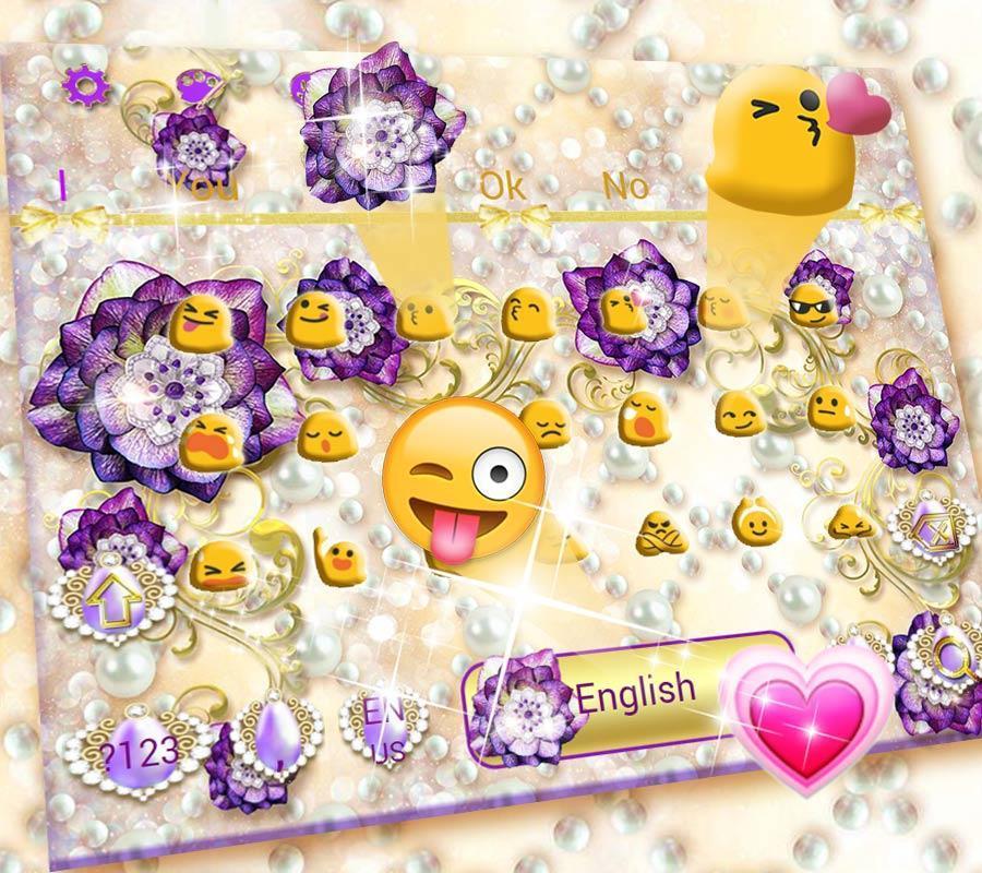 Download game permainan Purple Flower Keyboard Theme