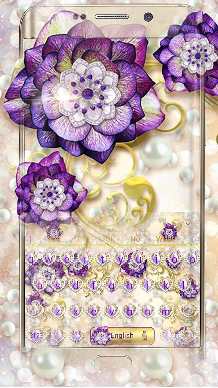 Download Purple Flower Keyboard Theme terbaru