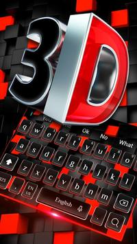 3D Red Black Keyboard Theme poster