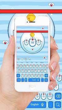 Cute Blue Cat Keyboard Theme screenshot 2