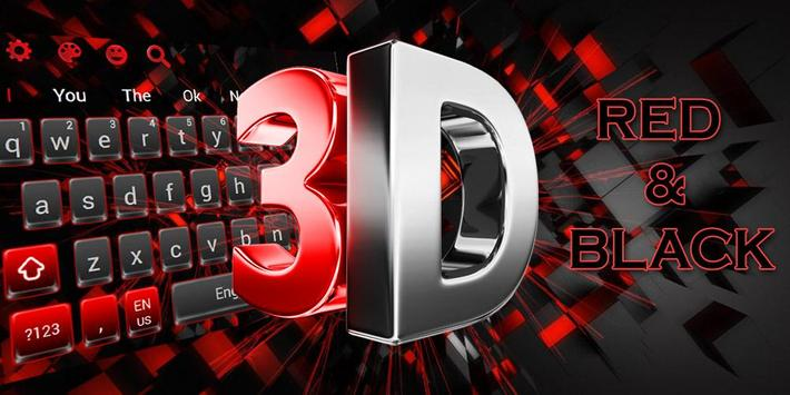 3D Cool Red and Black Keyboard screenshot 4