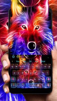 3D Wild Neon Wolf Keyboard Theme poster