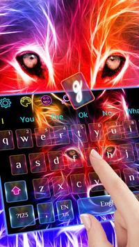 3D Wild Neon Wolf Keyboard Theme screenshot 1