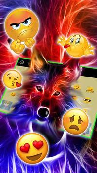 3D Wild Neon Wolf Keyboard Theme screenshot 2