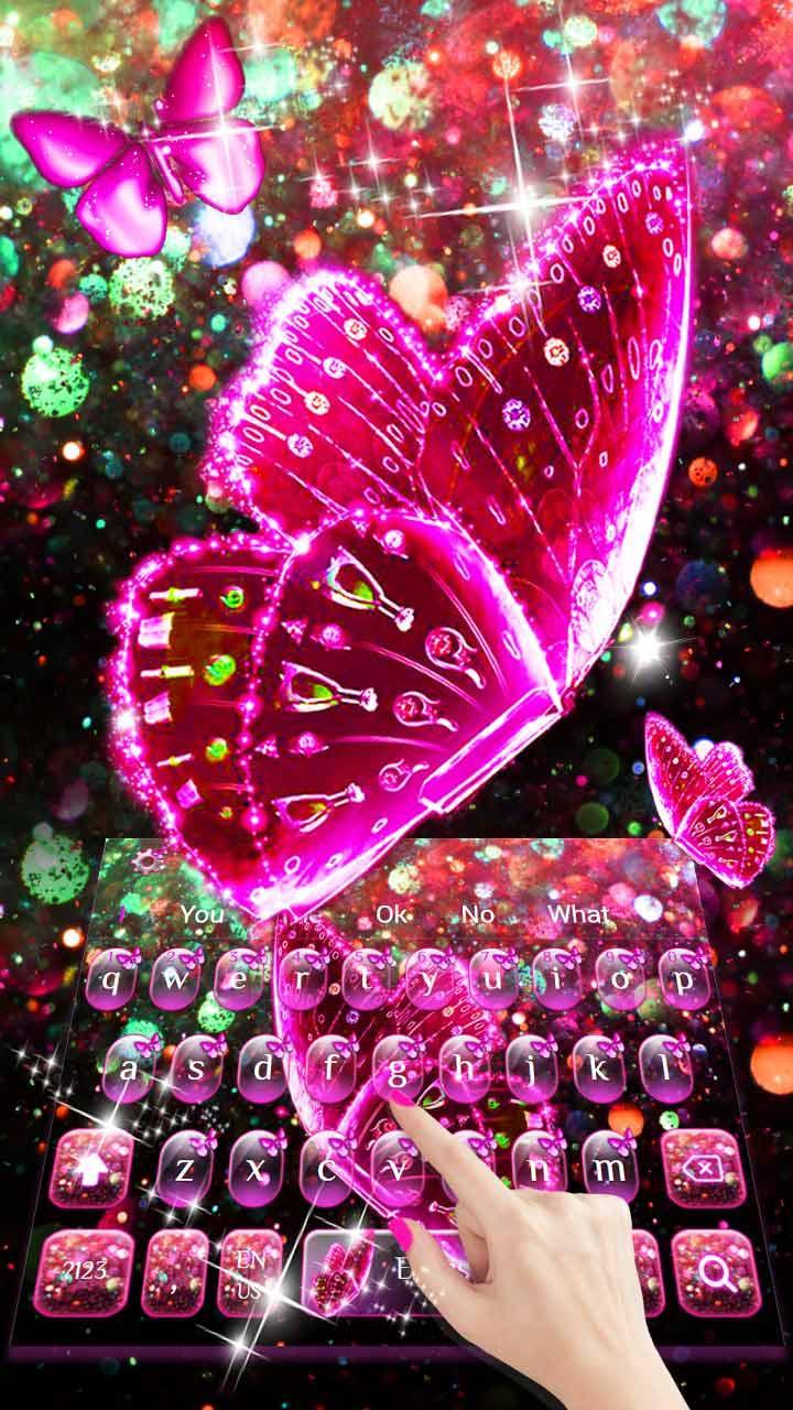 Pink Glitter Butterfly Keyboard Theme for Android - APK ...