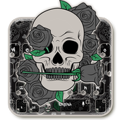 Black Horror Rose Skull Keyboard Theme icon