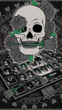 Black Horror Rose Skull Keyboard Theme poster