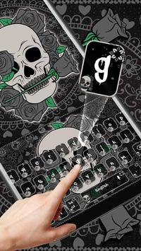Black Horror Rose Skull Keyboard Theme screenshot 1