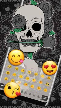 Black Horror Rose Skull Keyboard Theme screenshot 2