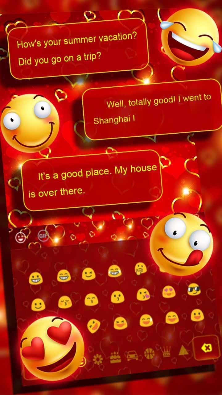 Gold Romantic Shining Love Heart Keyboard Theme for Android - APK