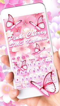 Pink Cherry sms keyboard Theme poster