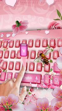 pink flower keyboard bee sakura rose poster