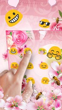 pink flower keyboard bee sakura rose screenshot 1