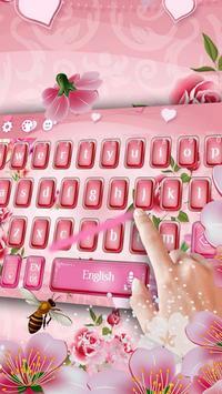 pink flower keyboard bee sakura rose apk screenshot