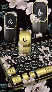 keyboard.theme.vintage.flower.black poster