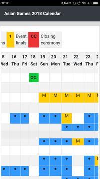 Calendar for Asian Games 2018 screenshot 1