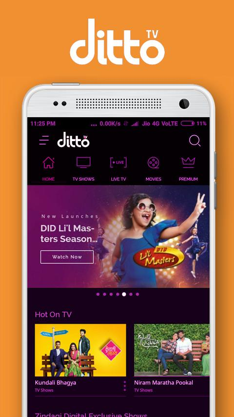 Mobile Tv - Live Cricket & Movies,Ditto Tv Plus for Android
