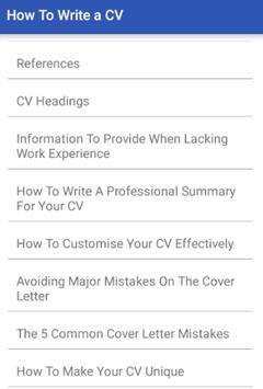 HOW TO WRITE A CV screenshot 1