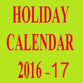 Holidays Calendar 2016, 2017, 2018, 2019 icon