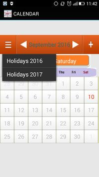 Holidays Calendar 2016, 2017, 2018, 2019 poster